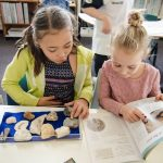 Children researching fossils.